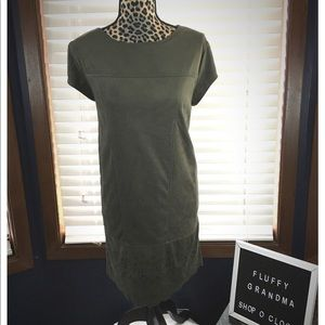 Xhiliration Faux Suede Avocado Green Dress Lg